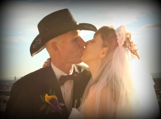 Cowboy wedding kiss